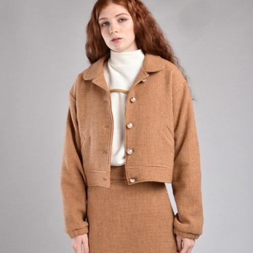 [hand me down/핸드미다운] Marshmello Tweed Jacket – Brown