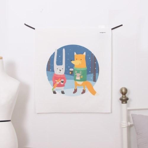 겨울친구들 LED 패브릭 액자 포스터 커튼 벽트리 (58x66cm)