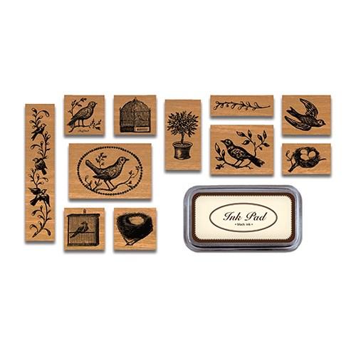 카발리니 빈티지 스탬프 세트-Birds & nests