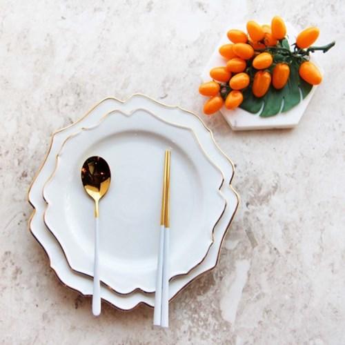 골드라인 도자기 라운드 접시 L-XL 사이즈