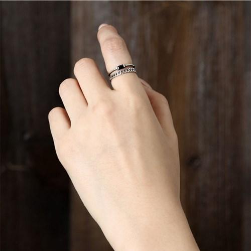 [925실버] 블랙 큐빅 체인 반지