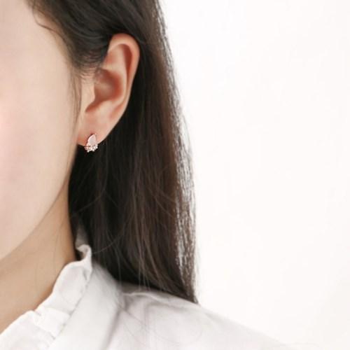 파스텔 큐빅 물방울 귀걸이