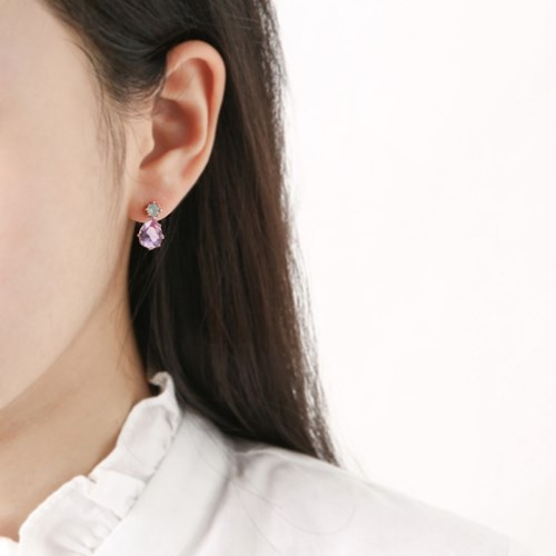 민트 퍼플 크리스탈 드롭 귀걸이
