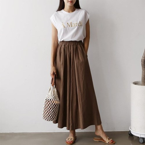 Linen Super Wide Pants - 치마바지
