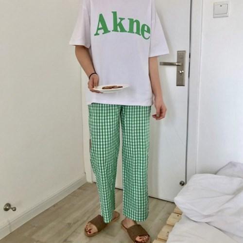 [안녕잘자] 당일발송 아크네 체크바지 잠옷세트 (2color)