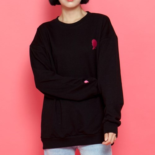 WASABI X DAMINI Collabo Basic Over-Fit Sweat shirt_Black