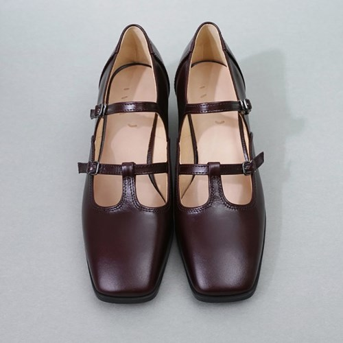 흰_Strap Shoes_Red Brown