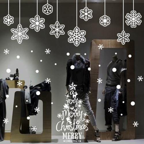 cmi280-눈꽃결정과 트리-크리스마스스티커