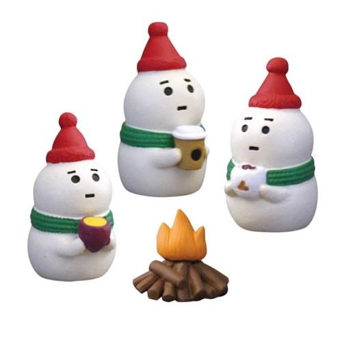 데꼴 2018 크리스마스 모닥불과 눈사람 피규어 한정판