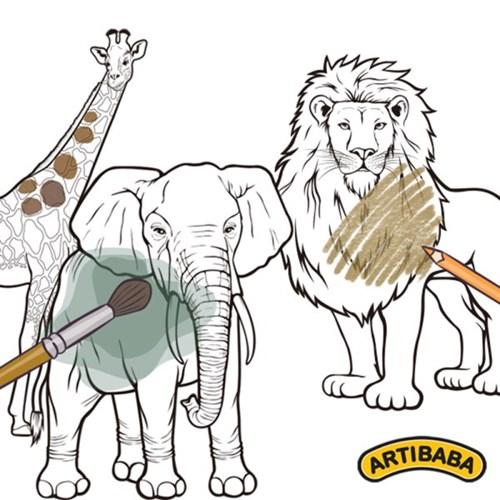 [아티바바] 리얼 동물 칼라링보드 4종/사자 코끼리 기린_(904538)