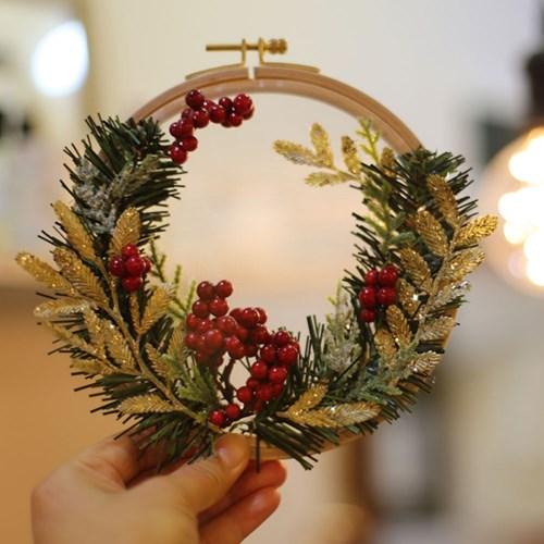크리스마스 볼륨 리스 투명자수 KIT