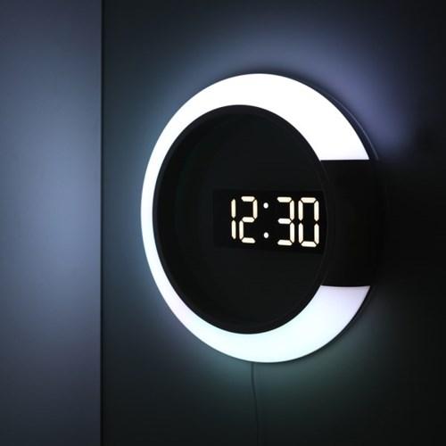(스크래치) 무아스 무드등 듀얼 미러클락 LED벽시계