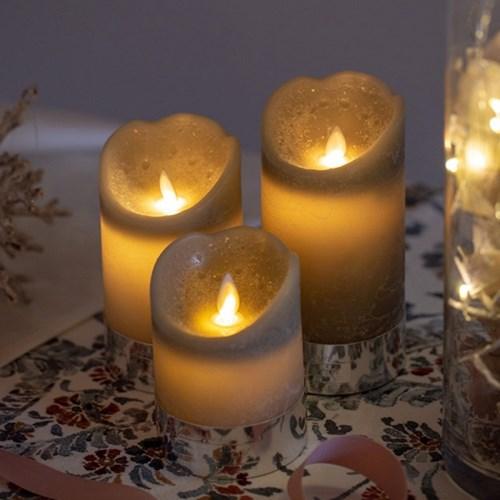 리얼왁스 그레이 캔들 LED 건전지 초 은은한분위기 크리스마스장식