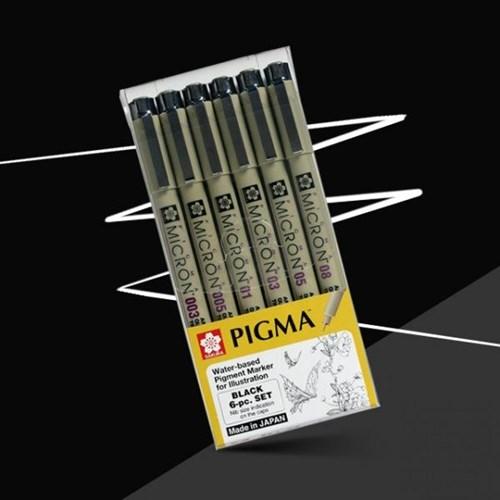 사쿠라 피그마 마이크론 드로잉펜 블랙세트 6본세트