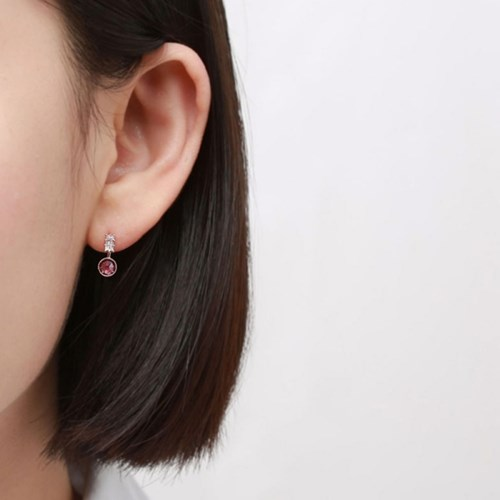 미니 퍼플 큐빅 귀걸이