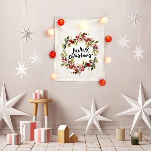 패브릭 포스터 메리 크리스마스 리스 코튼볼 전구 세트