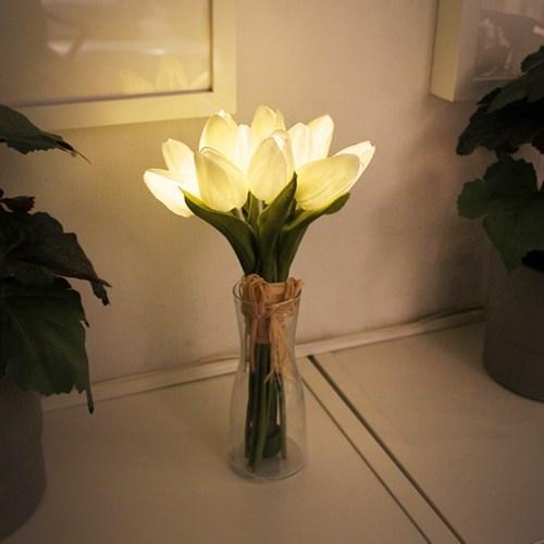 화이트 튤립 부케 LED 무드등