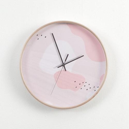 자작나무 무소음 인테리어 핑크 파스텔 벽시계 NET31B