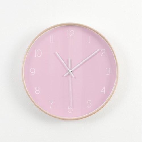 자작나무 무소음 인테리어 핑크 숫자 벽시계 NET12W5