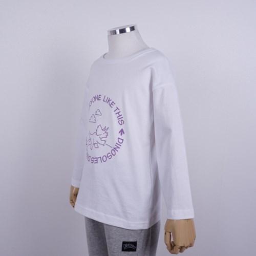 [다이노솔즈] 트리케라 산책 드로잉 어린이 순면 티셔츠 WH