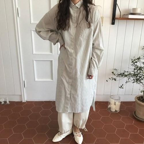 아델 스트라이프 셔츠 원피스