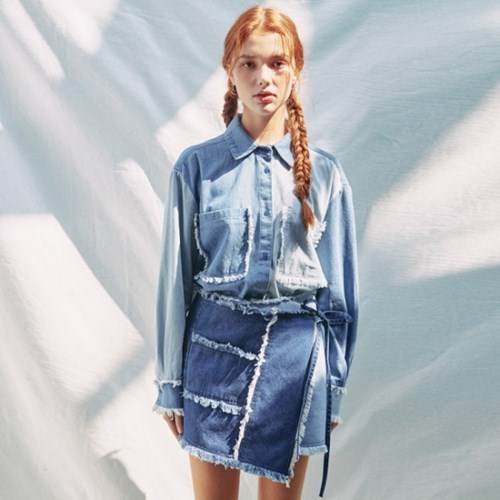 COLOR COMBINATION WASHING WRAP SKIRT_BLUE (EEON1SKR02W)