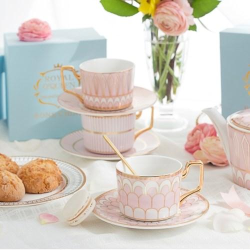 로얄클래식 골드림 핑크 커피컵 4종