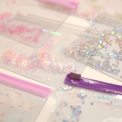Pinky holic clear pouch_S_2.Glitter_Étoile rose