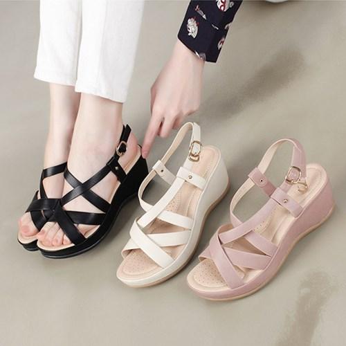 kami et muse Cross strap comfort wedge sandals_KM19s141
