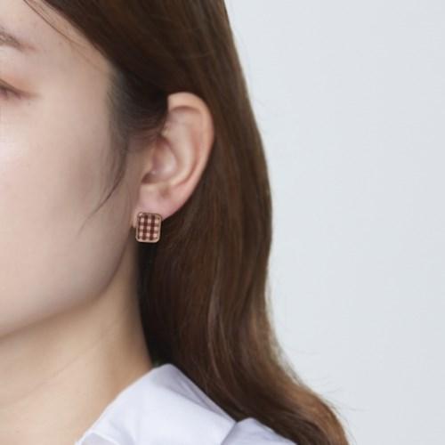 사각 깅엄체크 귀걸이