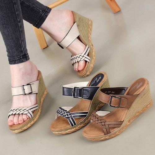 kami et muse  Espareille pattern wedge heel slippers_KM19s151