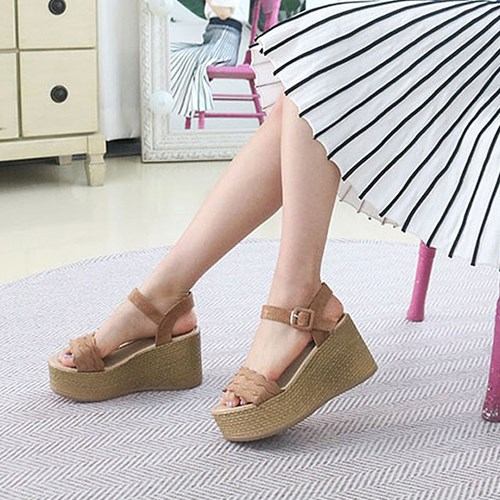 kami et muse Platform wedge heel suede strap sandals_KM19s155