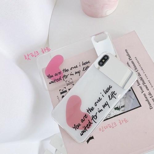 핑크하트 레터링 투명 셀카 미러 아이폰 케이스