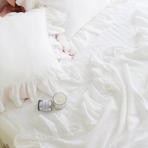 로맨틱 프릴 모달 와플 여름이불(S,Q,K)-아이보리