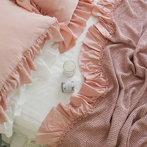 로맨틱 프릴 모달 와플 여름이불(S,Q,K)-핑크