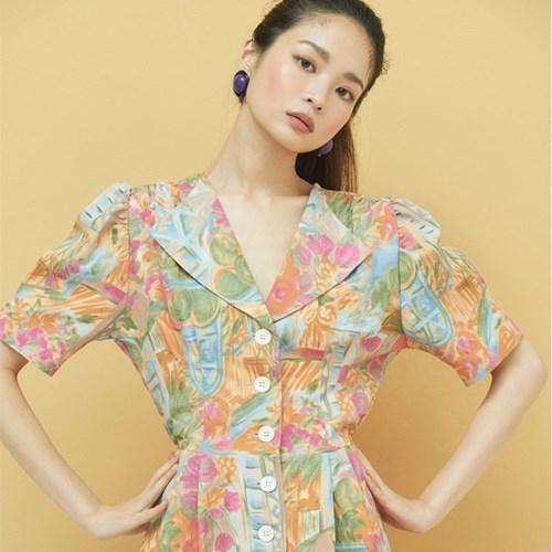 [8/21 예약순차배송]Drawing Button Dress in Orange