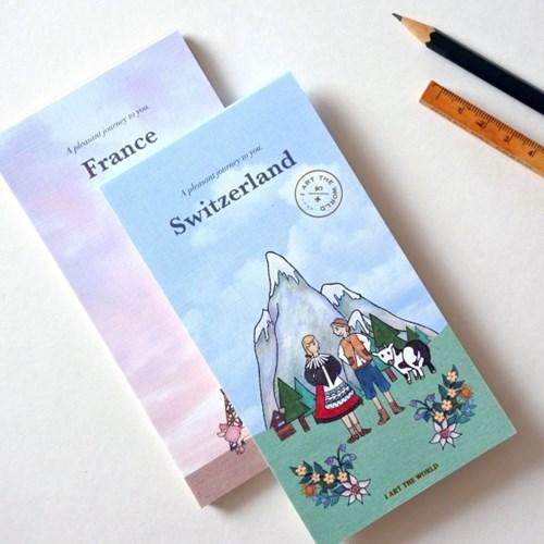 빈티지 편지지 노트패드 - 스위스/프랑스