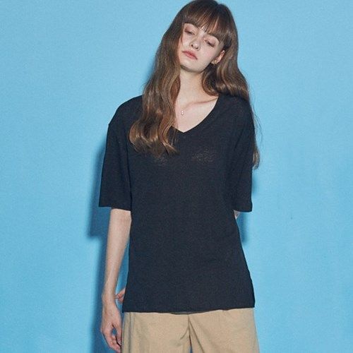 BASIC LINEN V NECK T-SHIRT_BLACK
