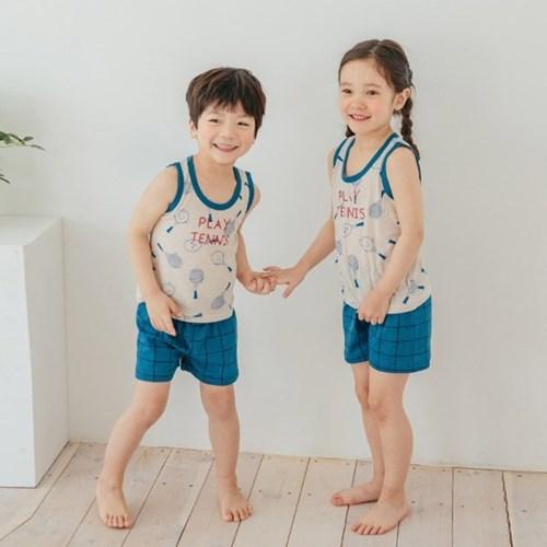 테니스팡팡 민소매 아동 실내복