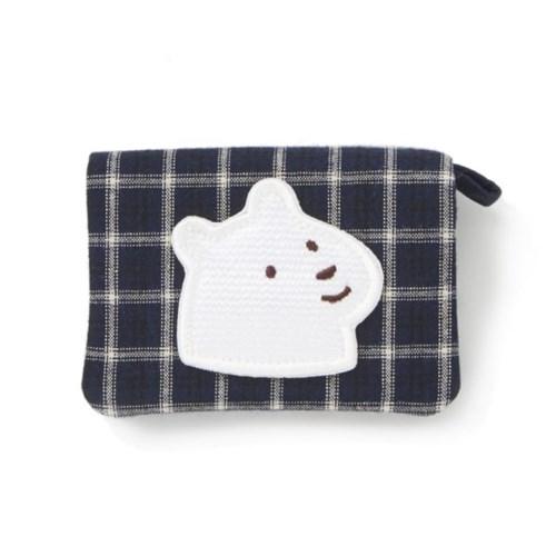 체크 네이비 개곰이 카드지갑