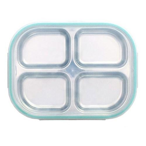 스텐 다이어트 유아 4구 도시락 식판 민트 유아식판