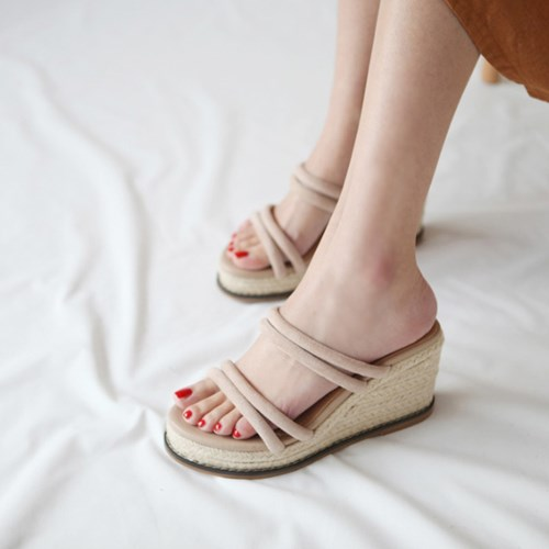 kami et muse Suede strap espadrille wedge heel slippers_KM19s326