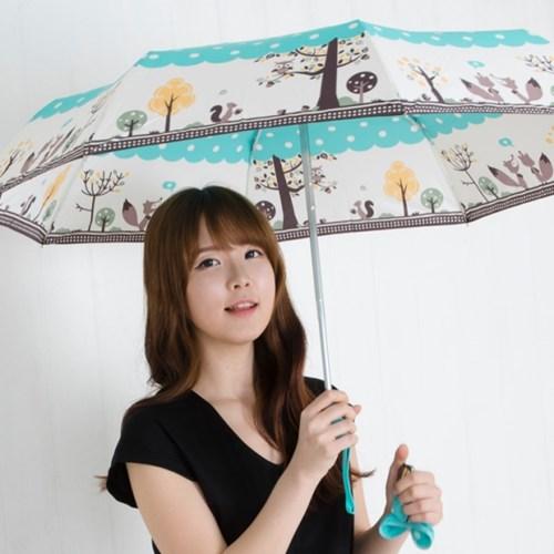 A0497 부엉이 스카이블루 3단자동우산