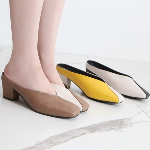 kami et muse Half combi middle heel  mule slippers_KM19s351