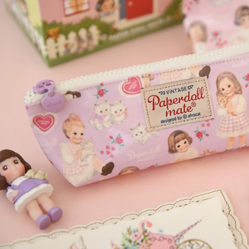 Oil-cloth pouch P_heart purple