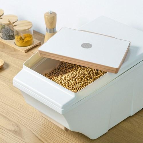 우드 내츄럴 화이트 쌀통 15kg