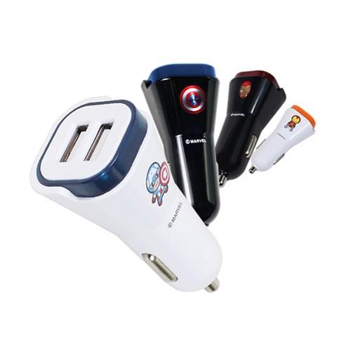 MARVEL 시빌워 3.1A 듀얼USB 차량용 LED시거잭 충전기_(1087917)