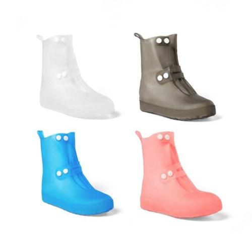 레인 장화 방수 슈즈 신발 보호 투명 커버 고급 버튼형_(1332698)