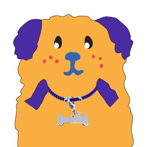 뼈다귀 로프 강아지 인식표 목걸이_ Purple
