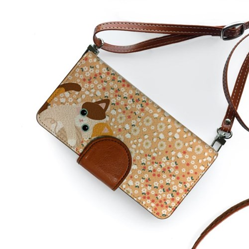 minicats옐로우소다_Leather handle wallet + cross strap